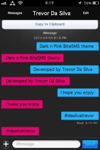 Download Dark n Pink BiteSMS Theme 1.1